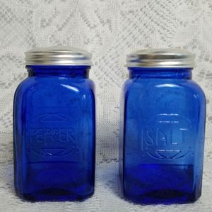Vintage Kitchen - Coblat Blue Pressed Glass Salt Pepper Shakers